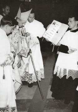 Giovanni Battista Montini during the laying of the cornerstone of the church of San Michele Arcangelo in Mater Dei, in the Viale Monza area of Milan, in 1961