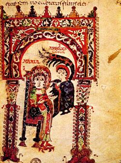 <I>L'Annunciazione</I>, miniatura mozarabica, <I>Tratado de San Ildefonso acerca de la virginidad de Maria</I>, fol. 66